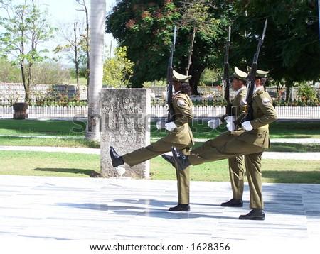 Guards of Jose Marti tomb. Santiago de Cuba - stock photo