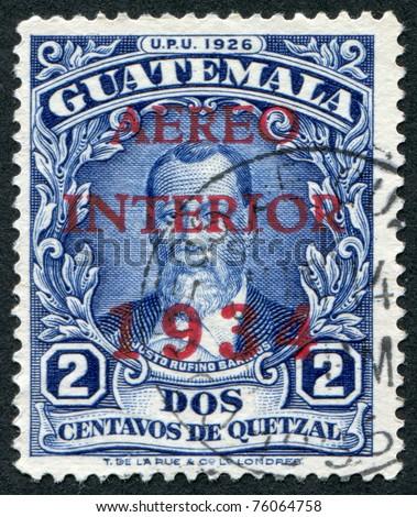 GUATEMALA - CIRCA 1926: A stamp printed in the Guatemala, shows Justo Rufino Barrios (airmail stamp in 1934), circa 1926 - stock photo