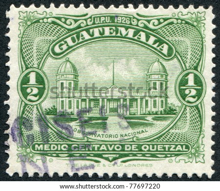 GUATEMALA - CIRCA 1929: Postage stamps printed in Guatemala, shows a National Observatory (inscription 1926), circa 1929