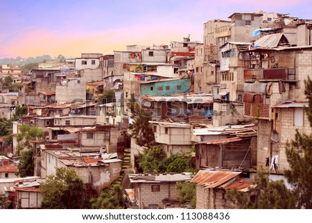 Guatemala City favela type housing near downtown. - stock photo