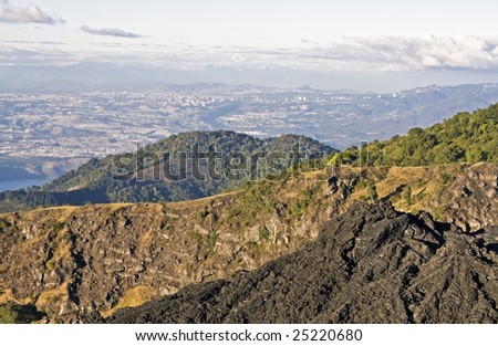 Guatemala City seen from Pacaya Volcano late afternoon - stock photo