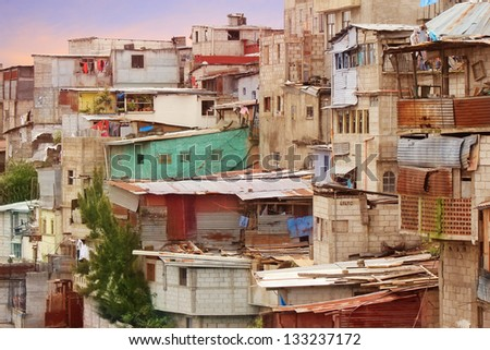 Guatemala City Shantytown Favela - stock photo