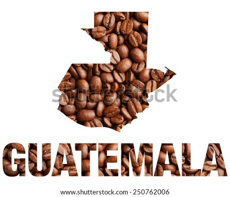 Guatemala map and word coffee beans isolated on white - stock photo