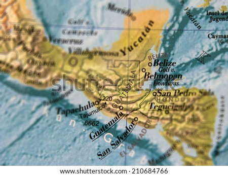 Guatemala Map part of world globe - stock photo