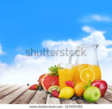 Guava. Colorful Bottles juice with fresh berries and fruits isolated on white background - stock photo