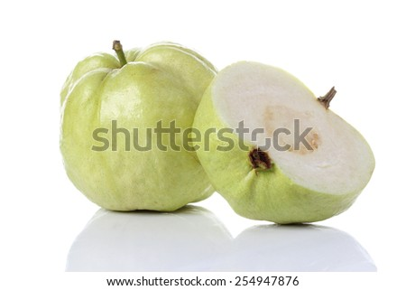 guava isolated on white background - stock photo