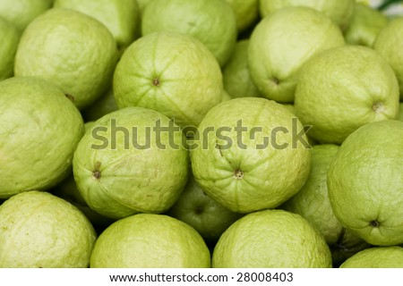 Guavas on a market stall.