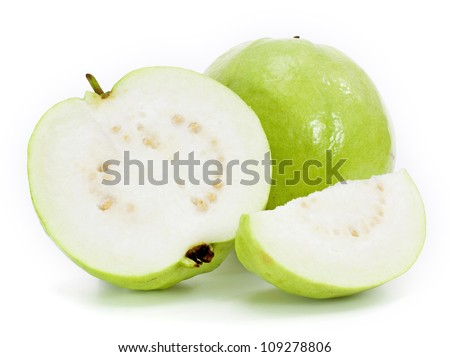 Guavas on white background - stock photo