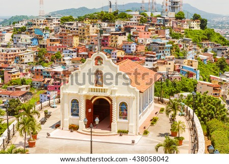 Guayaquil, Ecuador - April 16, 2016: High angle view of small chapel located at the top of Cerro Santa Ana, a touristic attraction of Guayaquil, Ecuador.