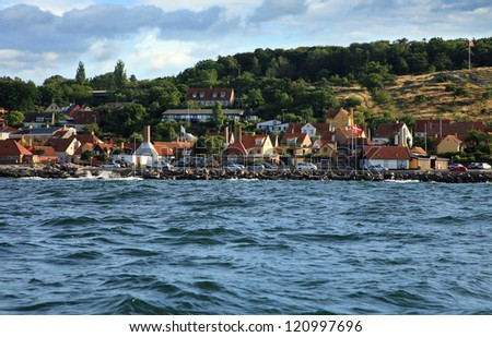 Gudhjem panorama, old, picturesque town on Bornholm Island, Denmark - stock photo