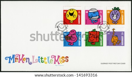 GUERNSEY - CIRCA 2008: A stamp printed in Guernsey shows illustration Mr Men & Little Miss, circa 2008 - stock photo