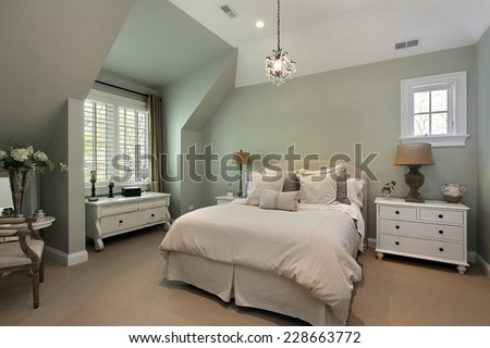 Guest bedroom in luxury suburban home - stock photo