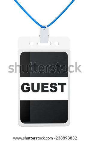 Guest Identification card on a white background - stock photo