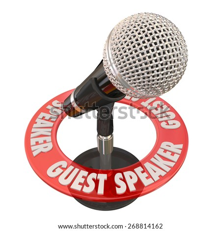 Guest Speaker words in a ring around a microphone to illustrate someone invited to give a speech to a group, panel, audience or committee - stock photo