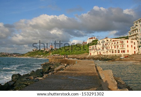Guethary is located between Bidart and Saint Jean de Luz. - stock photo