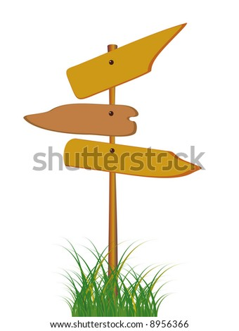 Guide sign among a grass - stock photo