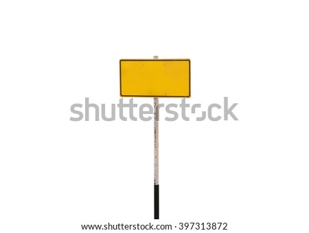 guidepost on white background.signage bright yellow - stock photo