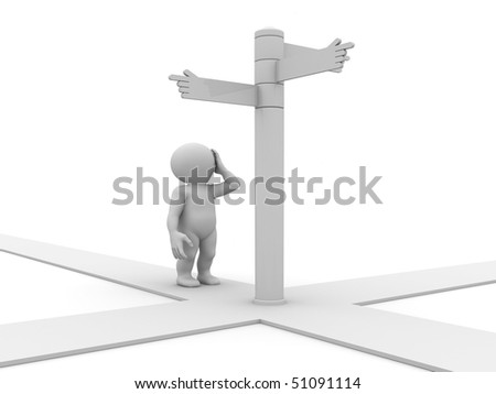 guiding sign with four pointers on crossroad - stock photo