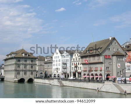 Guild houses in Zurich - stock photo