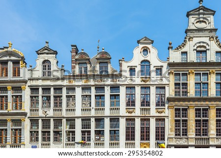 Guildhalls at the Grand Place in Brussels, Belgium.