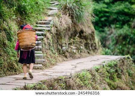 Guilin, China village local. - stock photo