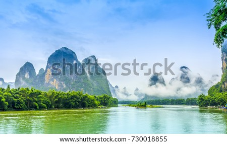 Guilin yangshuo beautiful scenery mountains rivers stock photo guilin yangshuo beautiful scenery of mountains and rivers voltagebd Images