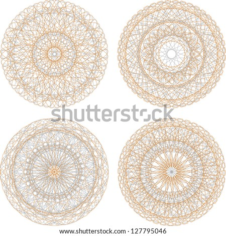 Guilloche mandala pattern for currency, certificate or diplomas, raster - stock photo