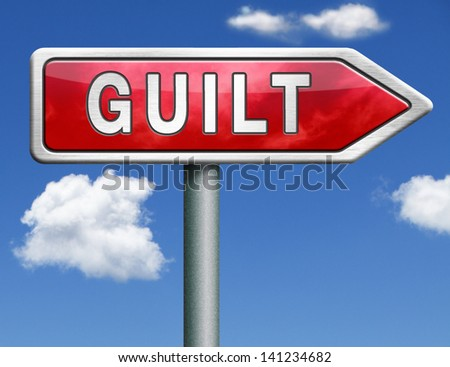 guilt guilty and convicted for a crime in court - stock photo