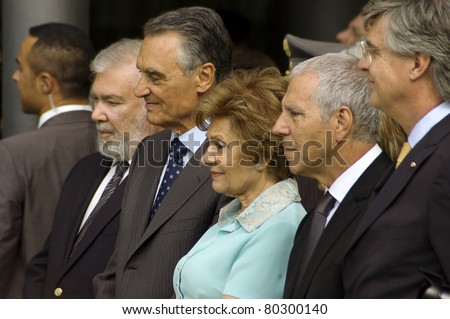 GUIMARAES, PORTUGAL - JUNE 24: Cavaco Silva (center) the President of the Republic of Portugal visits 2012 European Capital of Culture on June 24, 2009 in Guimaraes, Portugal - stock photo