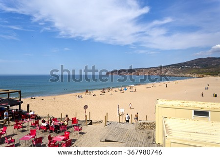 GUINCHO, PORTUGAL - SEPTEMBER 29, 2015: The Guincho Surf Beach near Lisbon, is part of the Billabong Pro World Tour surf competition, on September 29, 2015, in Guincho, Portugal - stock photo