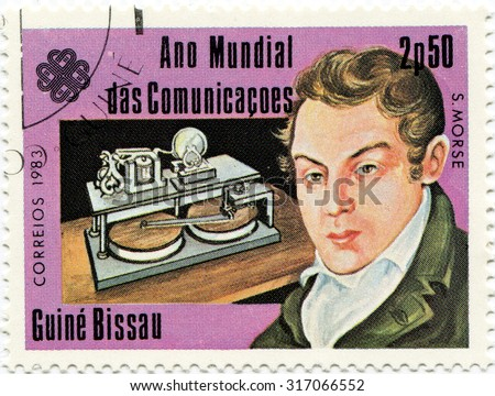 Guinea Bissau - circa 1983: a stamp issued by Guinea-Bissau circa 1983 on the subject of outstanding people of the world. Samuel Finley Breese Morse - stock photo