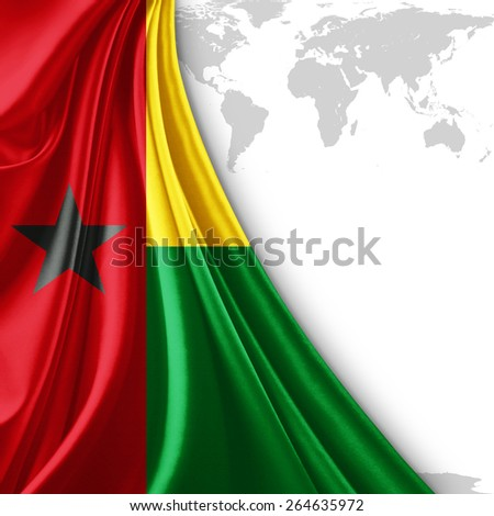 Guinea Bissau flag and world map background - stock photo
