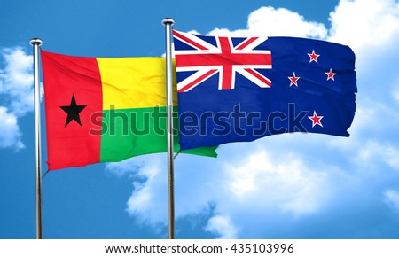 Guinea bissau flag with New Zealand flag, 3D rendering