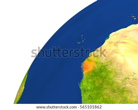 Guinea-Bissau highlighted in red as seen from Earth's orbit in space. 3D illustration with highly detailed realistic planet surface. Elements of this image furnished by NASA.