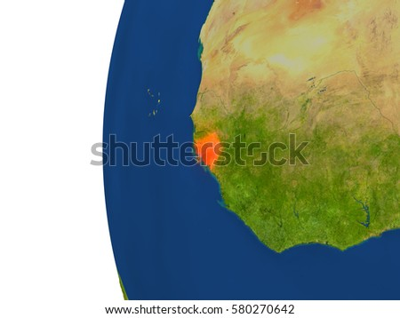 Guinea-Bissau on planet Earth. 3D illustration with detailed realistic planet surface. Elements of this image furnished by NASA.