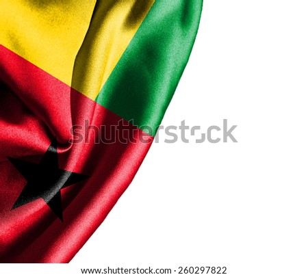 Guinea Bissau waving silky flag isolated on white background - stock photo