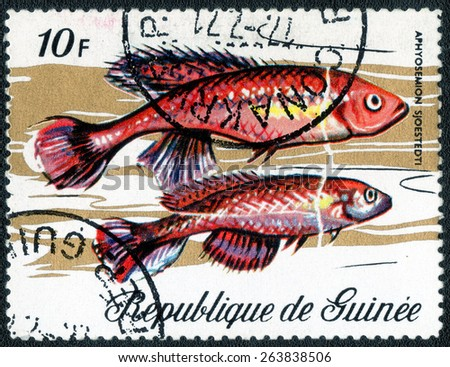 GUINEA - CIRCA 1971: a stamp printed in the Guinea shows series of images of aquarium fish, circa 1971