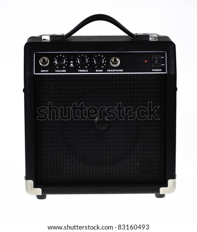 Guitar amp or amplifier isolated on white background. - stock photo