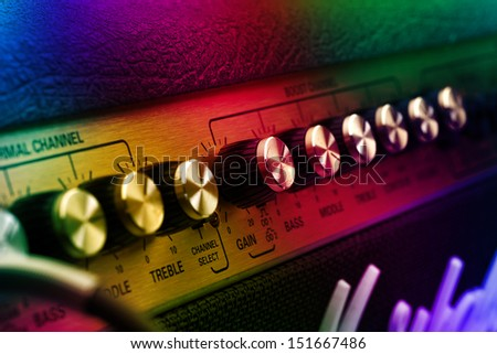 Guitar amplifier, stage light - stock photo