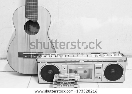 guitar and cassette player - stock photo