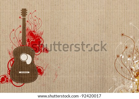 Guitar and Music background - stock photo