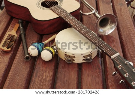 Guitar and music instruments - stock photo