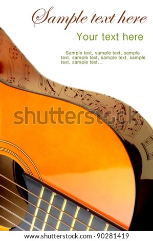 Guitar and note reflection - stock photo