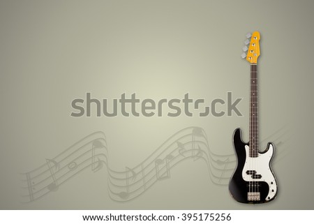 Guitar and notes on lemongrass background