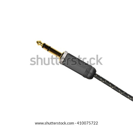 Guitar audio jack with black cable isolated on white - stock photo