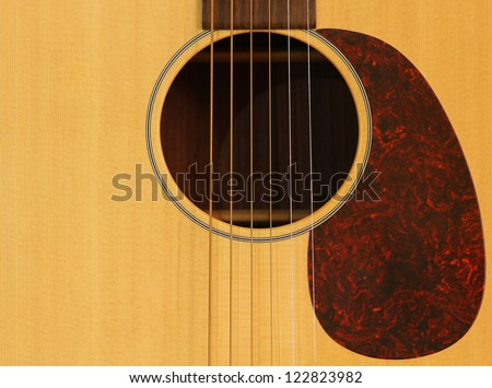 Guitar background with soundhole - stock photo