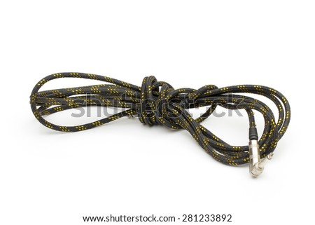 Guitar cable on the white background - stock photo