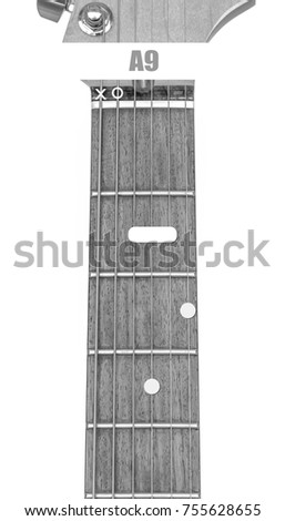 Guitar Chord A9 Black White Isolate Stock Photo 755628655 Shutterstock
