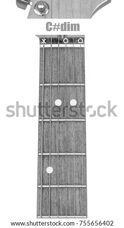 Guitar Chord Cdim Black White Isolate Stock Photo Royalty Free