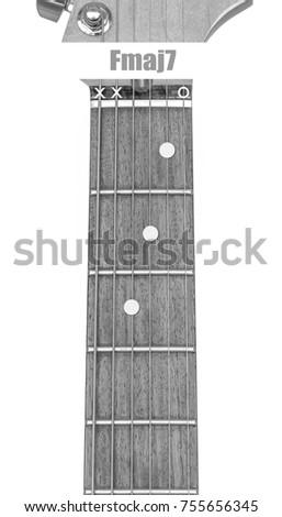 Guitar Chord Fmaj 7 Black White Isolate Stock Photo Royalty Free